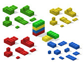 Isometric 3D vector illustration toy for children constructor and building blocks