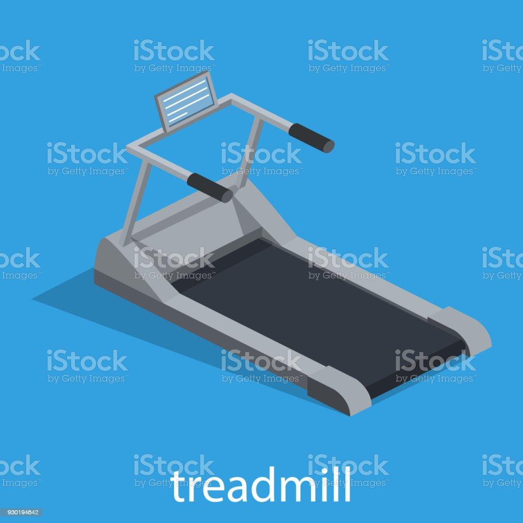 Isometric 3D vector illustration Treadmill for sports