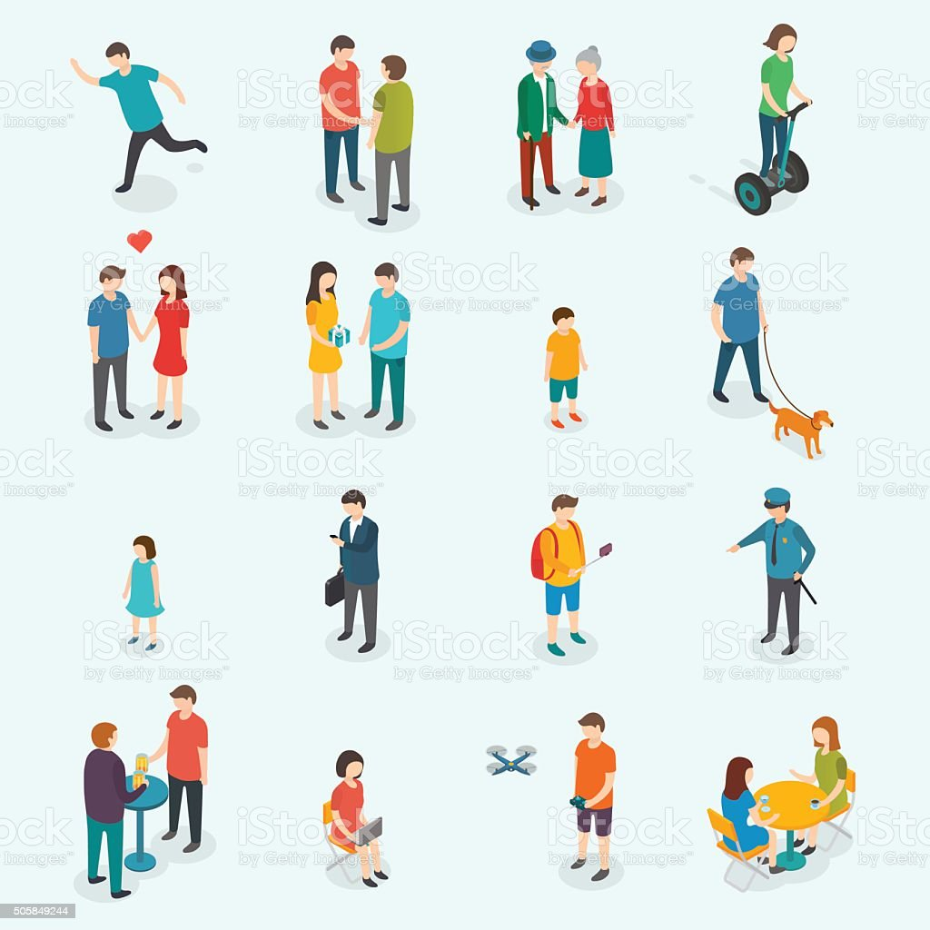Isometric 3d vector people. Set of woman and man.
