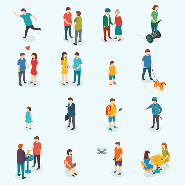 isometric 3d vector people. set of woman and man. - old man illustration pictures stock illustrations, clip art, cartoons, & icons