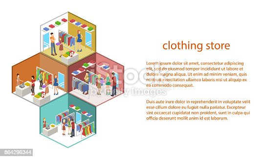 Isometric 3d Vector Shopping In Clothes Store Stock Vector Art & More Images of Abstract 864296344