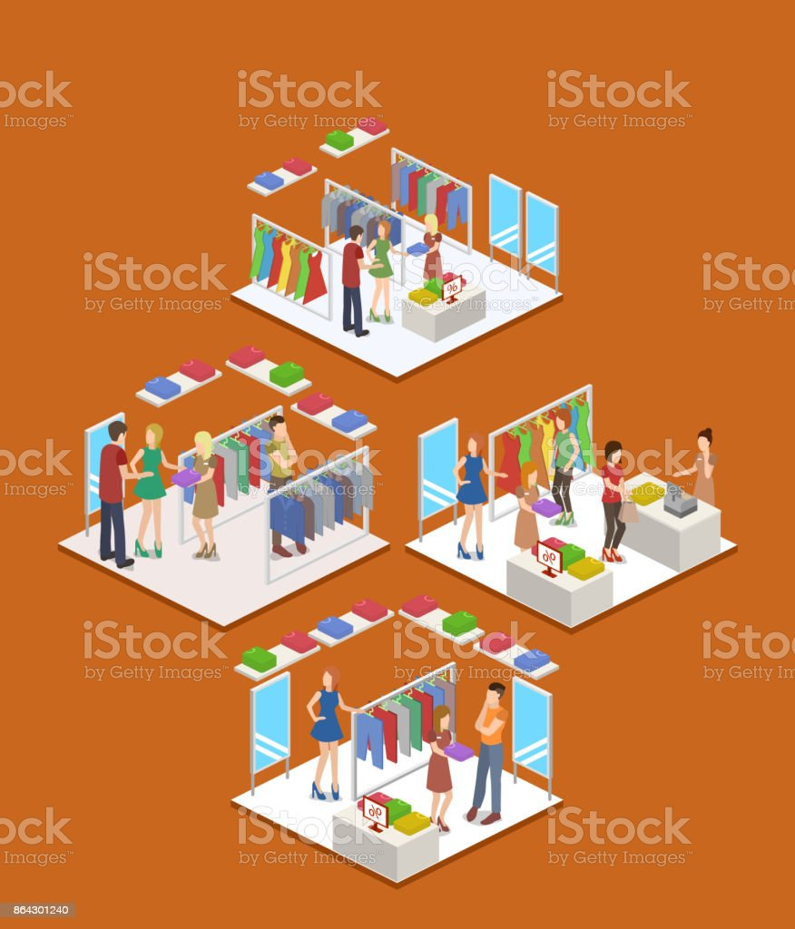 Isometric 3D vector shopping in clothes store royalty-free isometric 3d vector shopping in clothes store stock vector art & more images of abstract