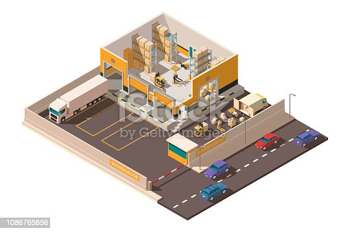 istock Isometric 3d warehouse with territory, parking, big shipment truck, forklift and box for delivery. 1086765856