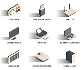 Isometric 3D web icon set - Gamepad, usb flash drive, router, monitor, printer, laptop, keyboard, computer mouse, system unit.