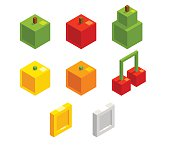 Isometric 8 bit pixel fruits and coins