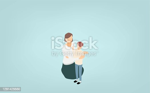 istock Isometric, a small child who loves his mother 1291425550