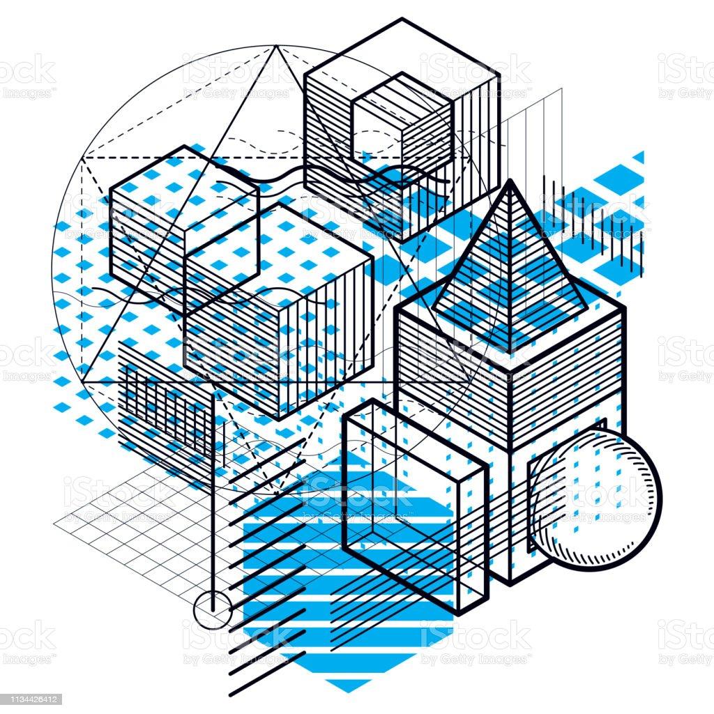 Fondo abstracto isométrico con formas dimensionales lineales, elementos de malla 3D vectoriales. Composición de cubos, hexágonos, cuadrados, rectángulos y diferentes elementos abstractos. - ilustración de arte vectorial