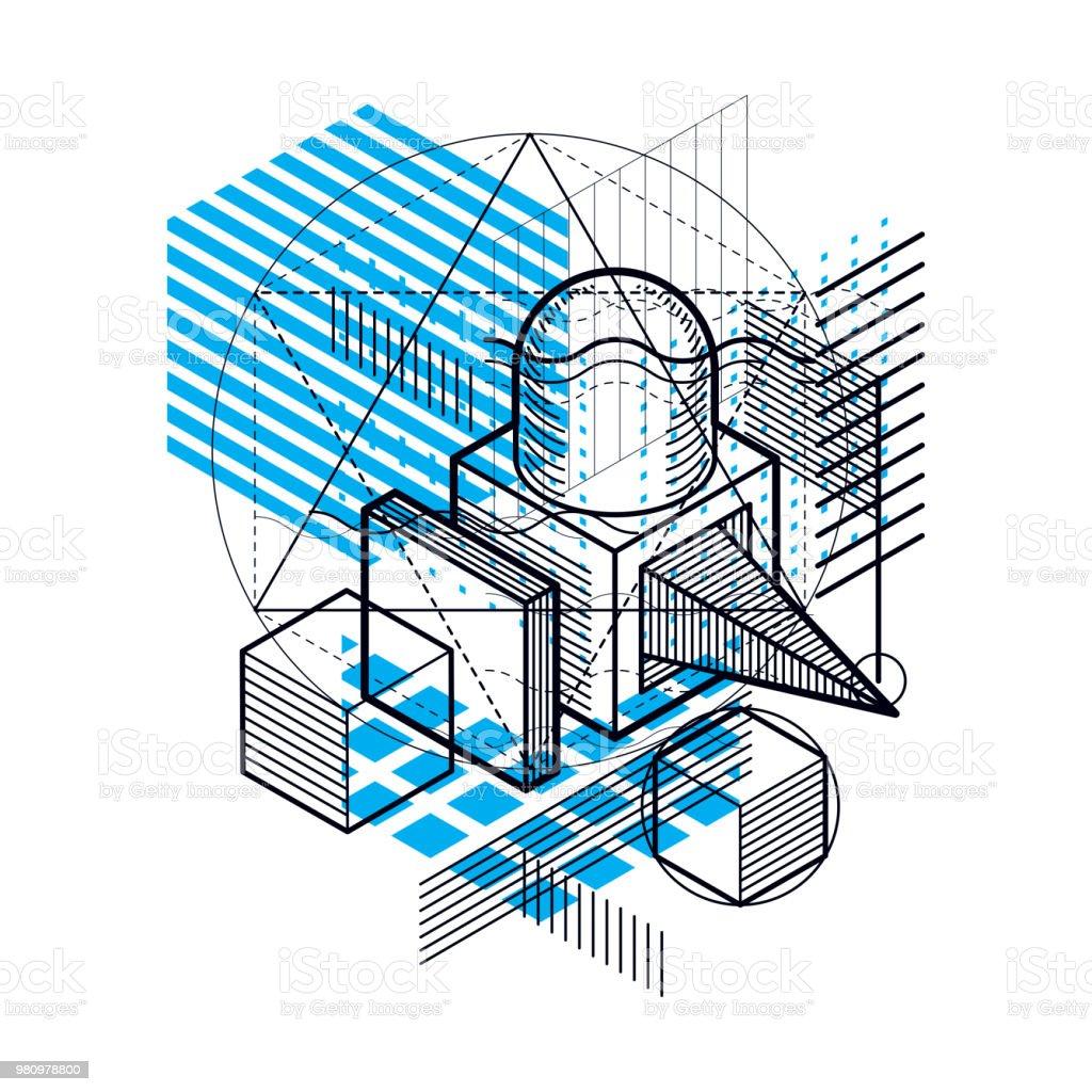 Isométrica abstracto fondo con formas dimensionales lineales, vector elementos de malla 3d. Composición de cubos, hexágonos, cuadrados, rectángulos y diferentes elementos abstractos. - ilustración de arte vectorial