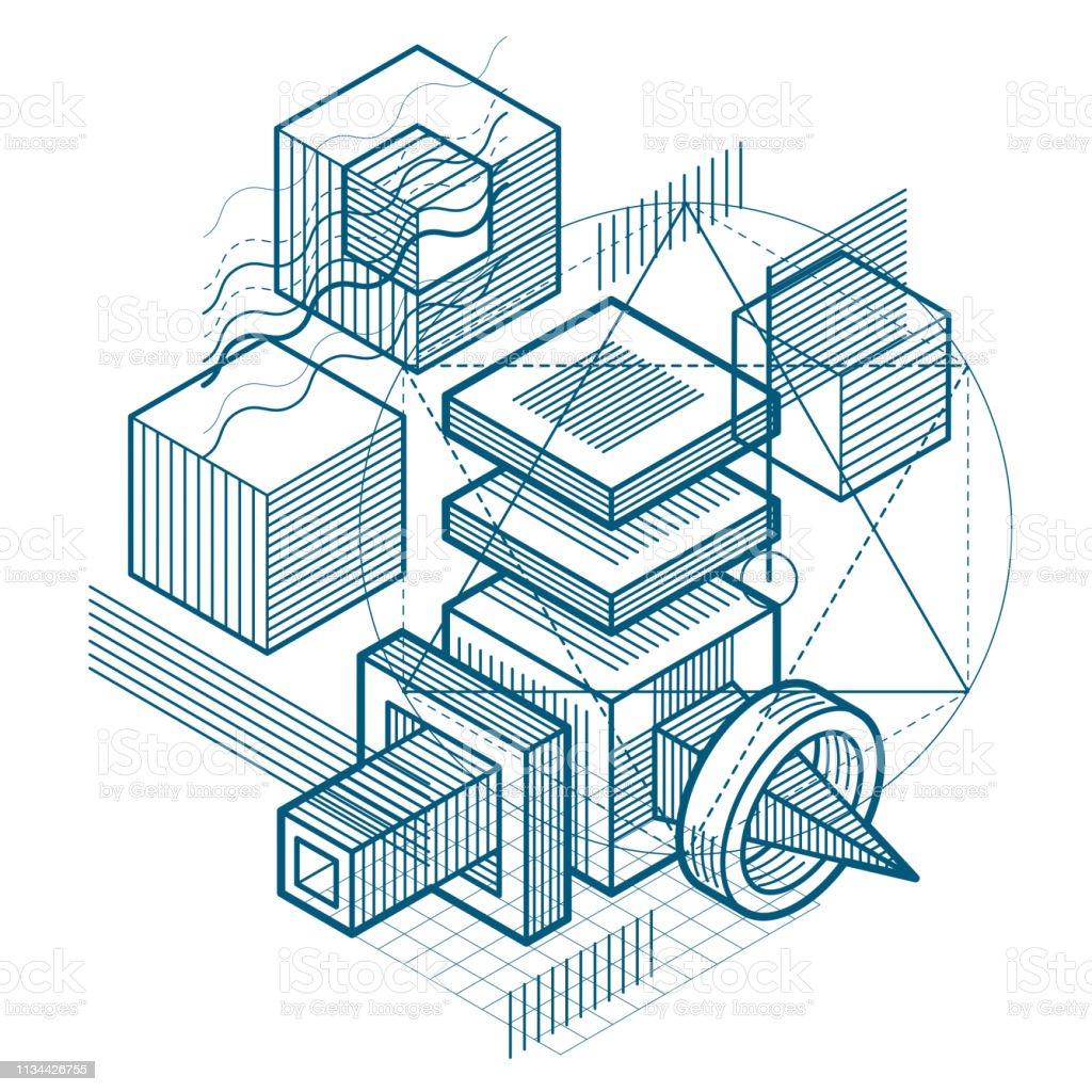 Fondo abstracto isométrico con líneas y otros elementos diferentes, plantilla abstracta vectorial. Composición de cubos, hexágonos, cuadrados, rectángulos y diferentes elementos abstractos. - ilustración de arte vectorial