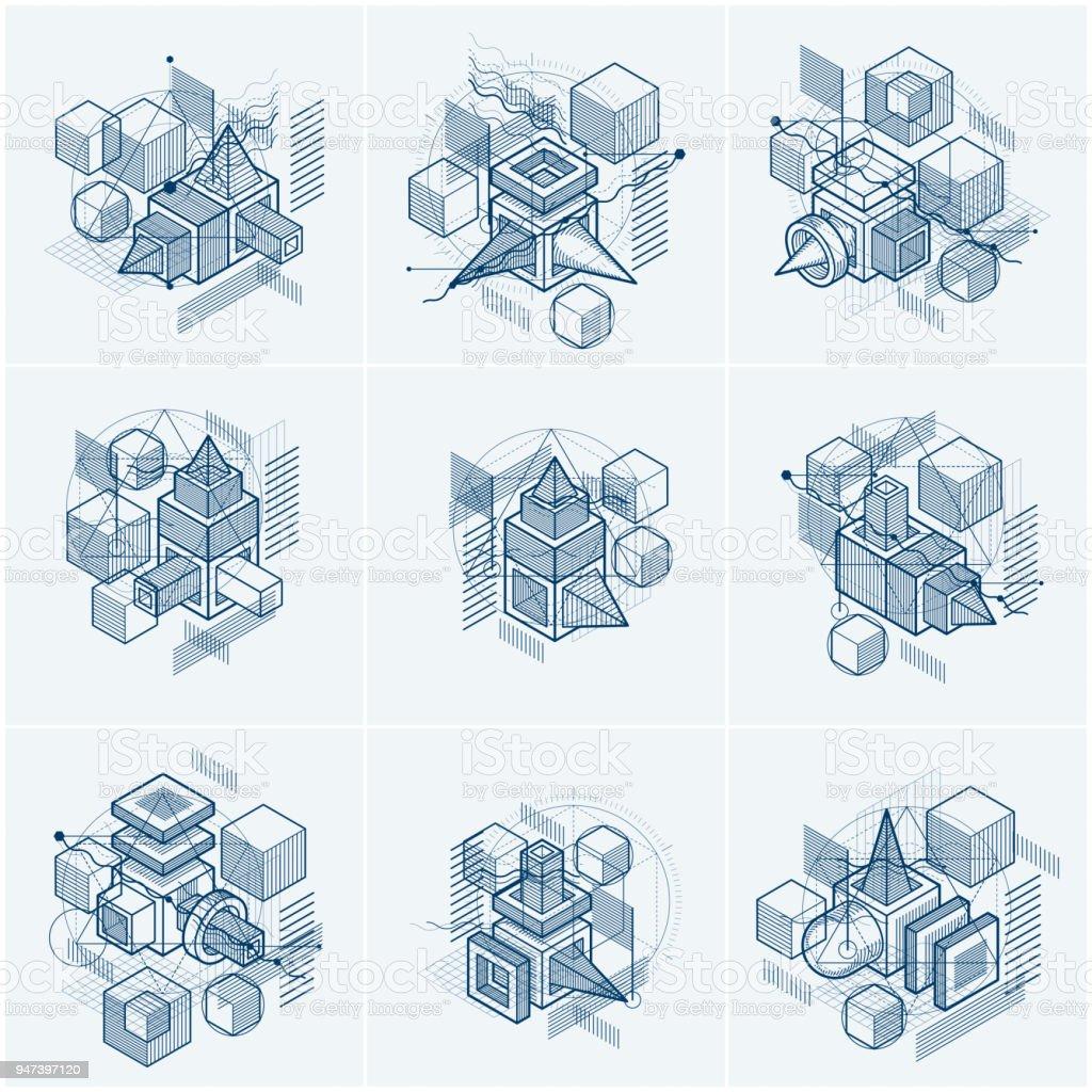 Fondos abstractos isométricas con líneas y otros elementos diferentes, vector plantillas abstractas. Composiciones de cubos, hexágonos, cuadrados, rectángulos y diferentes elementos abstractos. Conjunto de vectores. - ilustración de arte vectorial