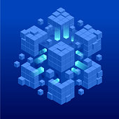Isometric abstract blue cube design. Digital Technology Web Banner. BIG DATA Machine Learning Algorithms. Analysis and Information