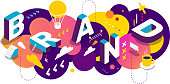 Isometric abstract branding horizontal design with decor element. Vector creative illustration of 3d word brand lettering typography on colorful background. Composition business template for web, site, banner