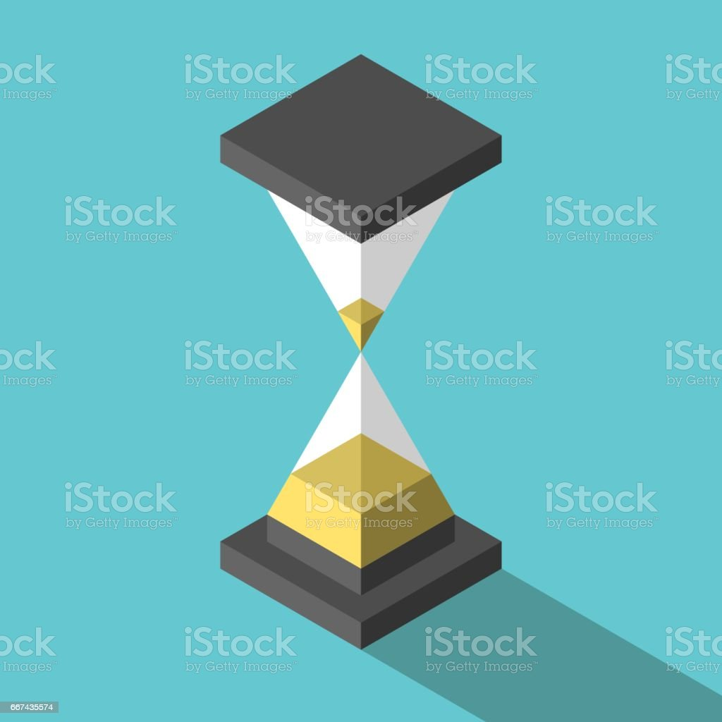 Isometric abstract simple hourglass vector art illustration