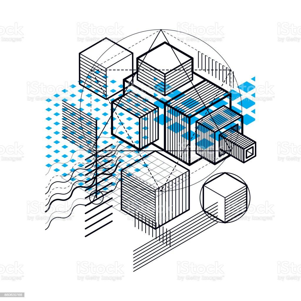Abstracción isométrica con líneas y elementos diferentes, vector de fondo abstracto. Composición de cubos, hexágonos, cuadrados, rectángulos y diferentes elementos abstractos. - ilustración de arte vectorial