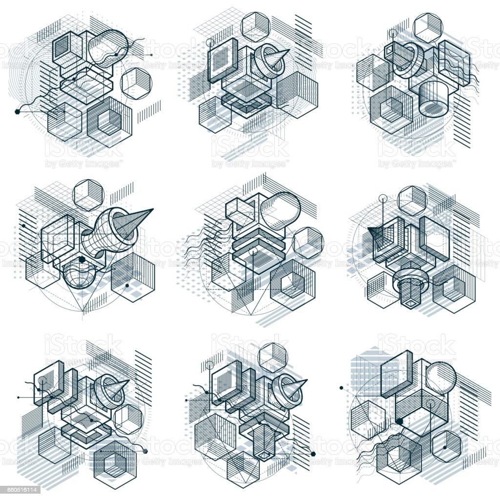 Abstracciones isométricas con líneas y diferentes elementos, vectores fondos abstractos. Composiciones de cubos, hexágonos, cuadrados, rectángulos y diferentes elementos abstractos. Conjunto de vectores. - ilustración de arte vectorial