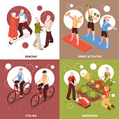 Senior people concept icons set with active lifestyle and hobbies symbols isometric isolated vector illustration