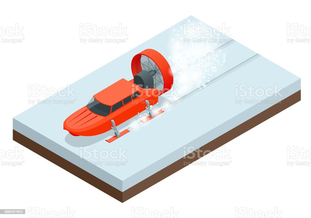 Isometric Aerosani, propeller-driven snowmobile, running on skis, used for communications, mail deliveries, medical aid, emergency recovery. Aerosled vector illustration isolated white background vector art illustration