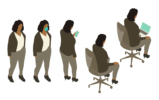 Isometric African American woman icons