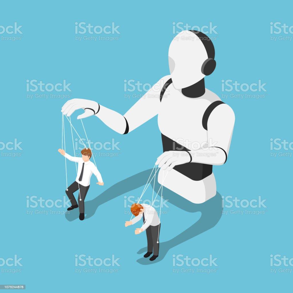 Robô de Ai isométrica controlando o empresário como um fantoche - ilustração de arte em vetor