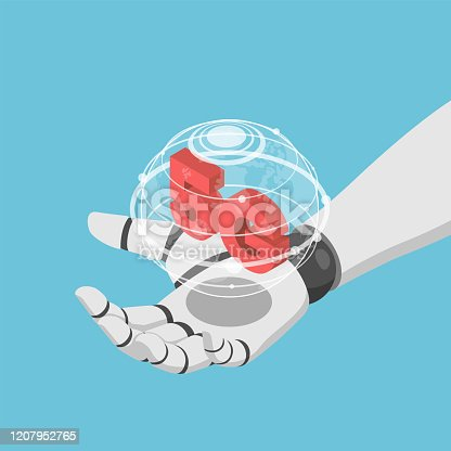 Flat 3d isometric Ai artificial intelligence robot hand holding virtual wolrd and 5g icon. 5G network wireless systems and IoT internet of thing concept.
