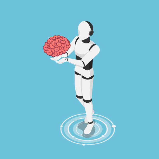 Isometric ai robot holding human brain vector art illustration
