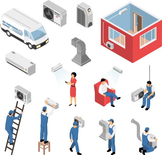ilustrações, clipart, desenhos animados e ícones de conjunto de serviço siométrico de ar condicionado - ar condicionado