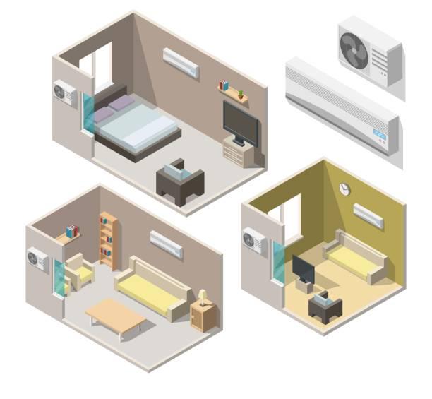 isometrische klimaanlage system klima kontrolle wohnzimmer innenräume vektor 3d set - halbwände stock-grafiken, -clipart, -cartoons und -symbole