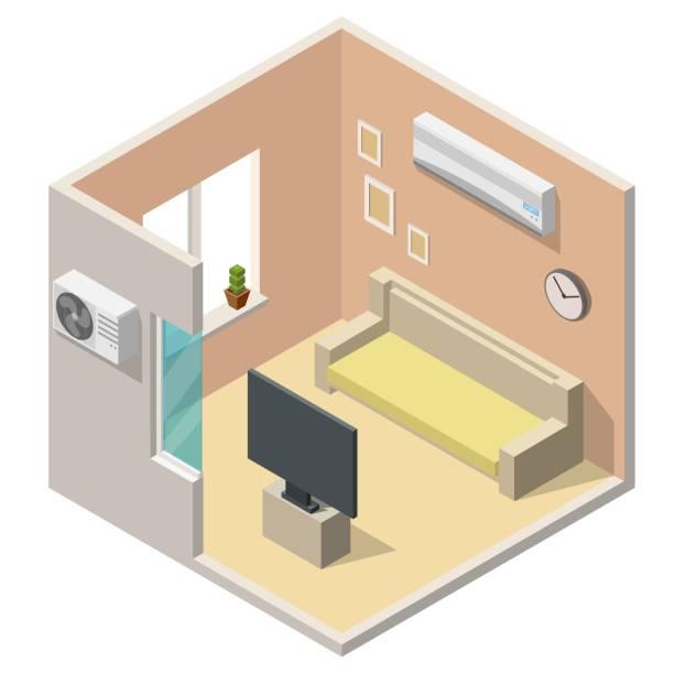 isometrische klimaanlage system klima kontrolle low-poly wohnzimmer innenräume vektor-satz - halbwände stock-grafiken, -clipart, -cartoons und -symbole