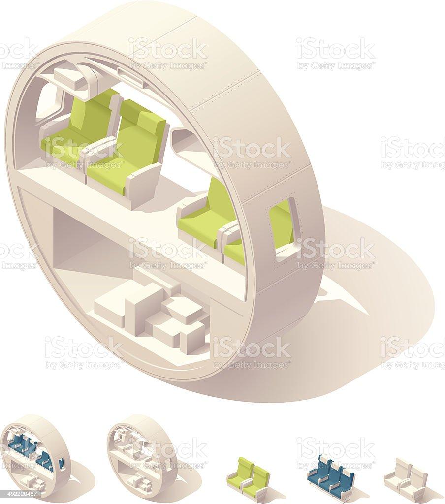 Isometric aircraft cabin cross-section vector art illustration
