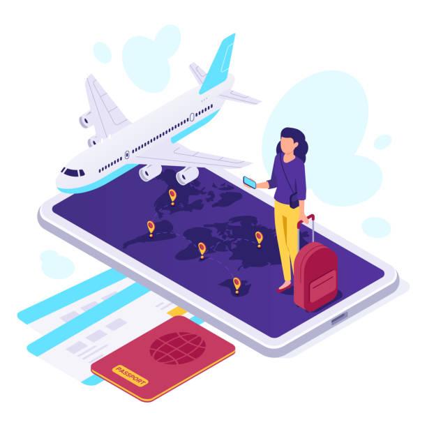 アイソメ飛行機の旅行。旅行者のスーツケース、飛行機の旅と走行3d ベクトルイラスト - アイソメトリック点のイラスト素材/クリップアート素材/マンガ素材/アイコン素材