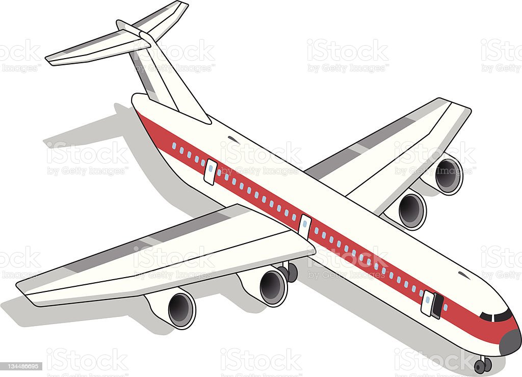 isometric Airplane with red stripe vector art illustration