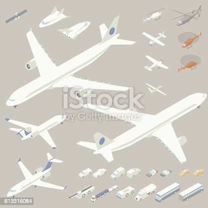istock Isometric Airplanes and Flying Vehicles 613316084
