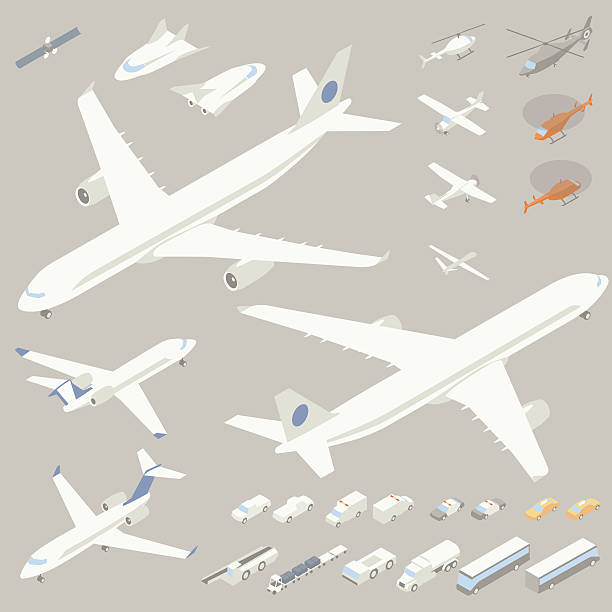 Isometric Airplanes and Flying Vehicles vector art illustration