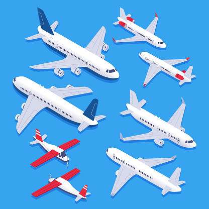 Isometric airplanes. Passenger jet airplane, private aircraft and airline plane. Aviation planes 3d isolated vector set