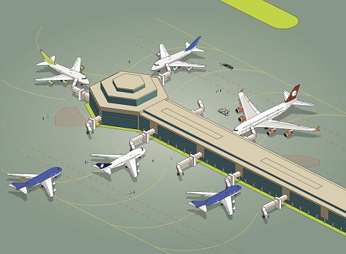 isometric airport apron