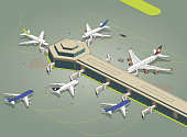 six airplanes at apron -