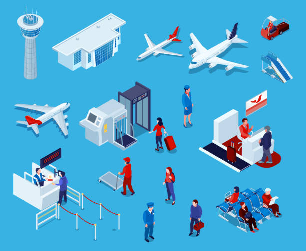 isometric airport set Airport isometric icons set of reception and passport check desk waiting hall control tower ladder isolated vector illustration airport stock illustrations