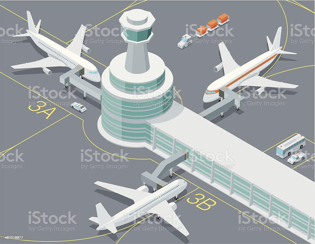 Isométrique, Transport vers l'aéroport - Illustration vectorielle