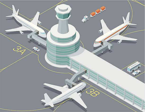 isometric, airport transport - airport stock illustrations