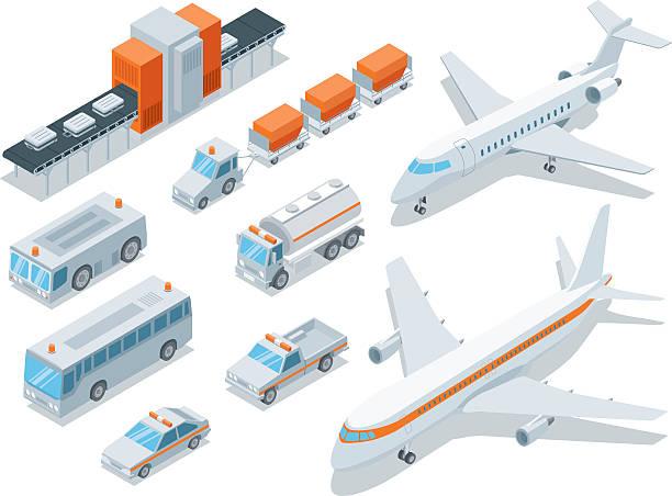 stockillustraties, clipart, cartoons en iconen met isometric, airport transport - airport pickup