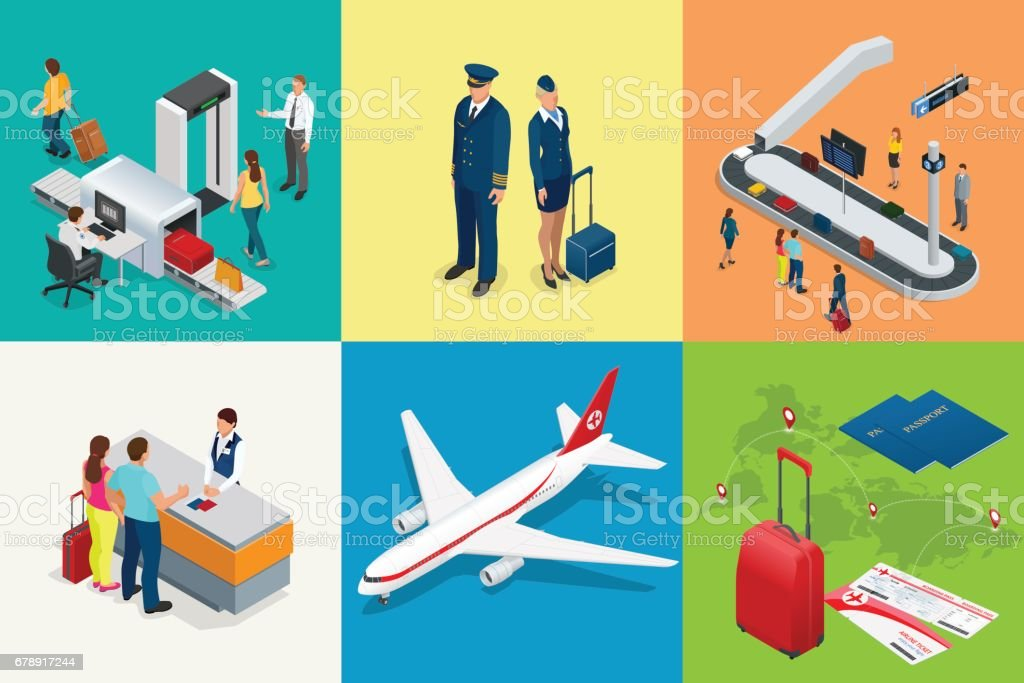Isometric Airport Travel and transport Icons. Isolated people, airport terminal, airplane, traveler man and woman, airport runway, plane, runway, airport security. vector art illustration