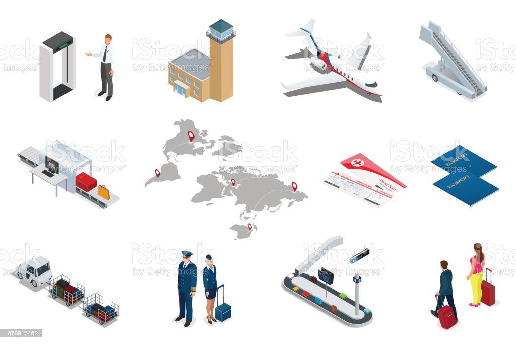 İzometrik Havaalanı seyahat ve ulaşım simgeler. İnsanlar, Havalimanı, uçak, gezgin adam ve kadın, Havaalanı pist, uçak, pist, Havaalanı Güvenlik izole. royalty-free İzometrik havaalanı seyahat ve ulaşım simgeler İnsanlar havalimanı uçak gezgin adam ve kadın havaalanı pist uçak pist havaalanı güvenlik izole stok vektör sanatı & araba - motorlu taşıt'nin daha fazla görseli