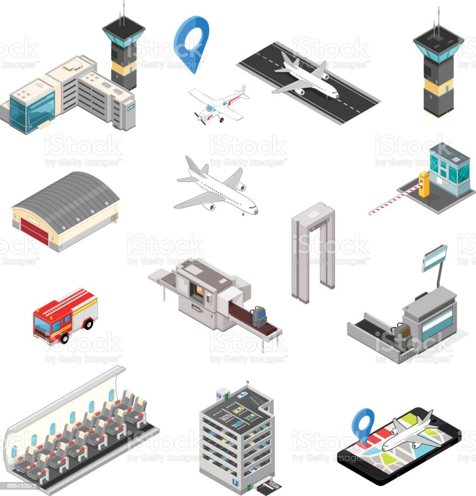 Isometric Airport Travel And Transport Icons vector art illustration