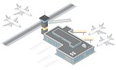 Vector illustration Isometric Airport and Aircraft with runway and radio control tower.