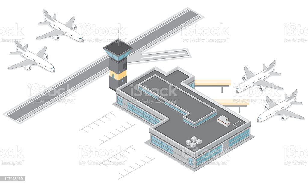 Isometric Airport with runway and airplanes vector art illustration