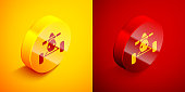 Isometric All Terrain Vehicle or ATV motorcycle icon isolated on orange and red background. Quad bike. Extreme sport. Circle button. Vector Illustration