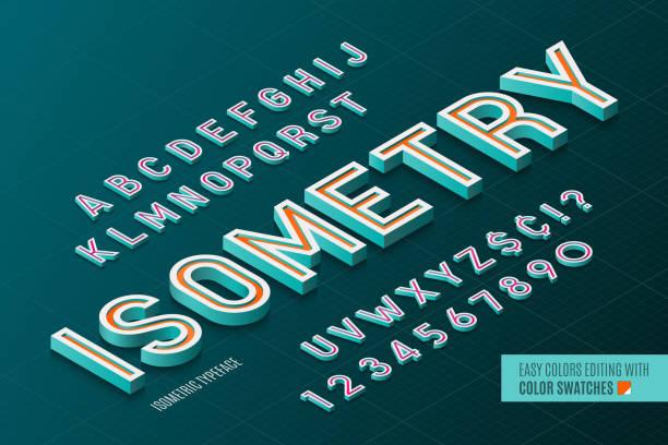 Alfabeto isométrico. 3D Letras y números. - ilustración de arte vectorial