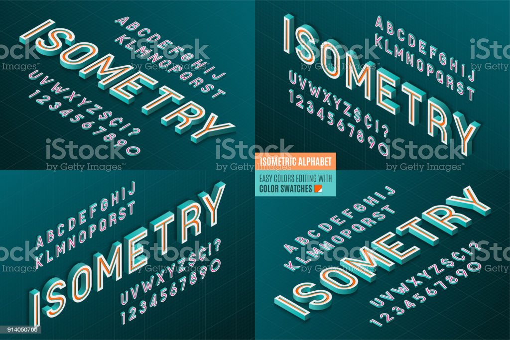 Isometric alphabet 4 in 1. 3d letters and numbers. vector art illustration
