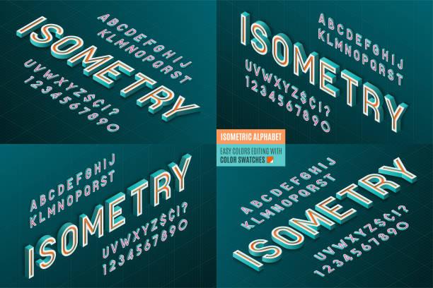 Alfabeto isométrica 4 en 1. 3D Letras y números. - ilustración de arte vectorial