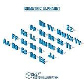 Isometric alphabet and font.
